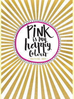 סט מכתביות-  pink is my happy colour